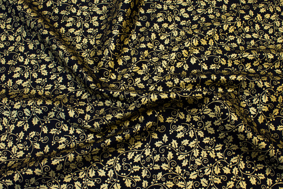 Black beautiful cotton with gold holly