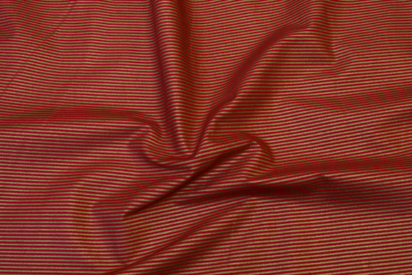 Red cotton with 2 mm gold stripes