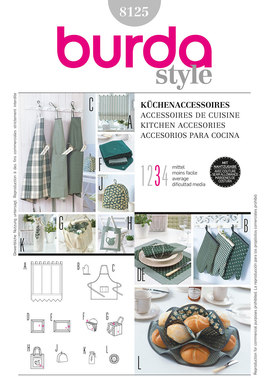 Kitchen accessories, bbq gloves, aprons, bread basket