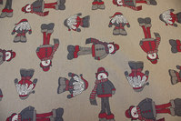 Acrylic-lcoated fabric with cute elfs on dark linen-color base