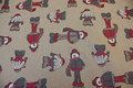 Acrylic-lcoated fabric with cute elfs on dark linen-color base.