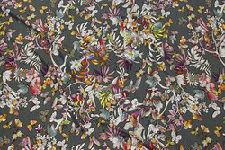 Army viscose jersey with flowers and butterflies