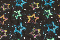 Black cotton-jersey with stars in beautiful neon-colors