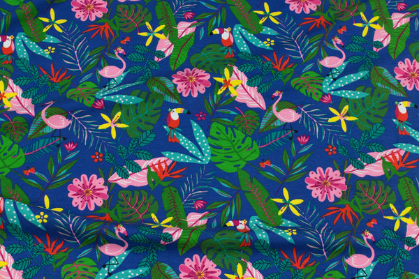 Blue cotton-jersey with flowers and birds