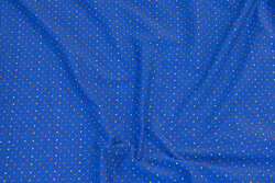 Cobolt-blue cotton-jersey with multicolored micro-dots