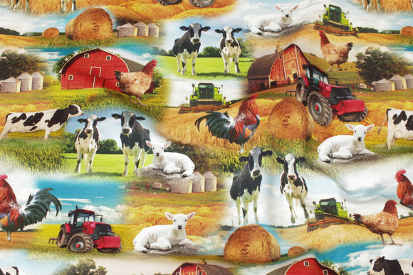 Cotton-jersey with farm life motifs