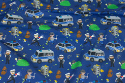 Dark blue cotton-jersey with police and robbers
