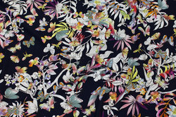 Dark navy viscose jersey with flowers and butterflies