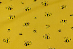 Dark yellow crinkle cotton with bees