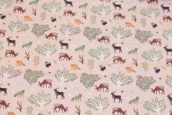 Dusty old rose cotton with forest-animals