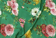 Grass green cotton-jersey with flowers