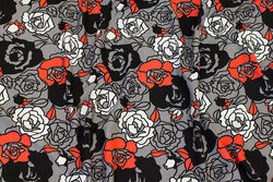 Grey viscose-jersey with ca. 5 cm roses in black, white and red