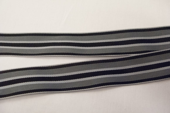 Grosgrain ribbon grey stripes 2,5cm