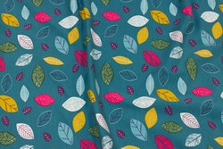 Jade-green cotton-jersey with colorful leaves