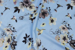 Light blue micro-polyester with flowers and birds