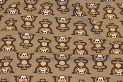 Light brown cotton-jersey with fun ca. 5 cm big monkies