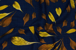 Light crepe in navy with rust and yellow leaves