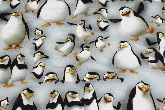 Light grey cotton-jersey with penguins
