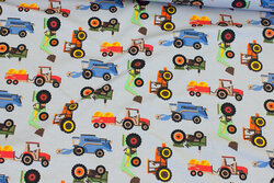 Light grey cotton-jersey with tractors etc.