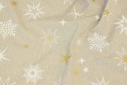 Linen-colored cotton and polyester with stars and snow-crystals in white and gold