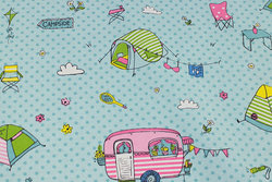 Medium-thickness cotton-polyester mint-green with camper wagons and telte