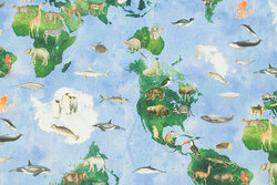 Medium-thickness cotton with world map and animals