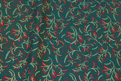 Mørl green christmas-cotton with gold-branches and red berries