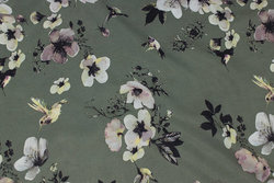 Olive-colored micro-polyester with flowers and birds