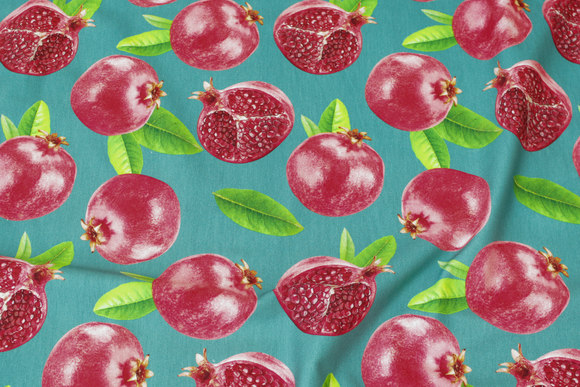 Petrol-colored cotton-jersey with pomegranate