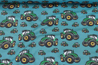 Petrol cotton-jersey with green tractors