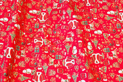 Red cotton with christmas images