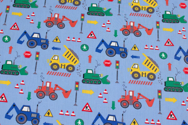 Sky-blue cotton with construction machines