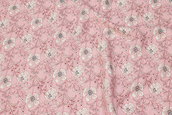 Soft red blouse-viscose with white flowers