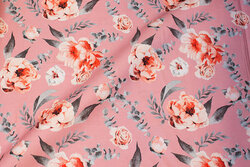 Soft red cotton with ca. 6 cm coral roses