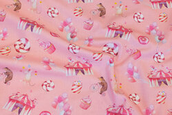 Soft red cotton-poplin with circus-motifs