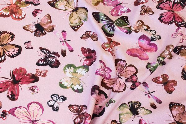 Soft red, light sweatshirt fabric with butterflies