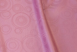 Old rose table-cloth-fabric with circle-pattern