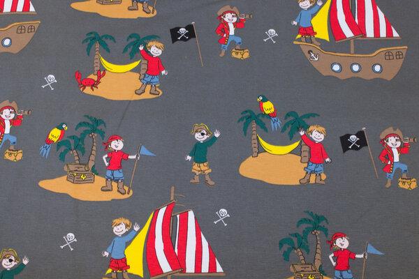 Dirt-brown cotton-jersey with pirat.motifs