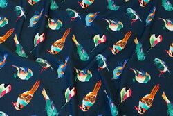 Deep dark-blue cotton-jersey with birds