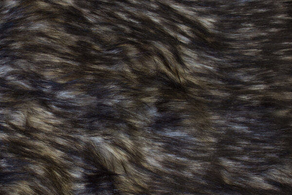 Faux long-haired luxus fur in grey-brown and black