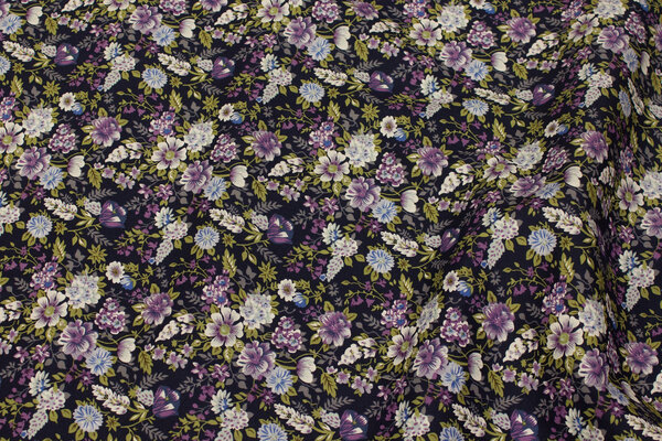 Navy cotton with small purple flowers