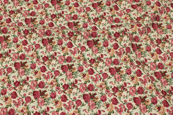Light cotton with ca. 2 cm bordeaux roses