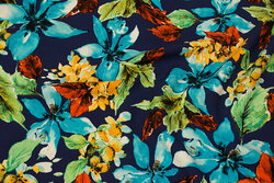 Navy blouse-viscose with ca. 15 cm turqoise flowers