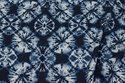 Navy blouse-viscose with light blue batique-pattern