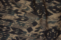 Felt jacket-fabric in brown and navy pattern in Inka-style