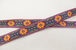 Woven ribbon flowers purple/orange 1,2cm