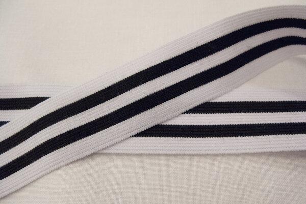 Elastic stripes black/white 3cm