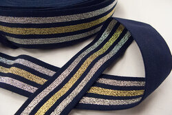 Elastic navy/gold/silver stripes 4 cm