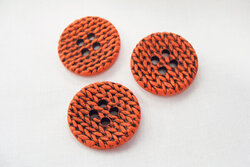 Red knitted-look button 3cm