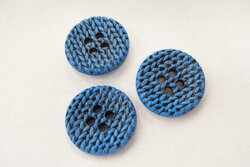 Blue knitted-look button 3cm